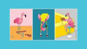 Illustrationen aus dem Büchlein Sei ein Flamingo und steh über den Dingen